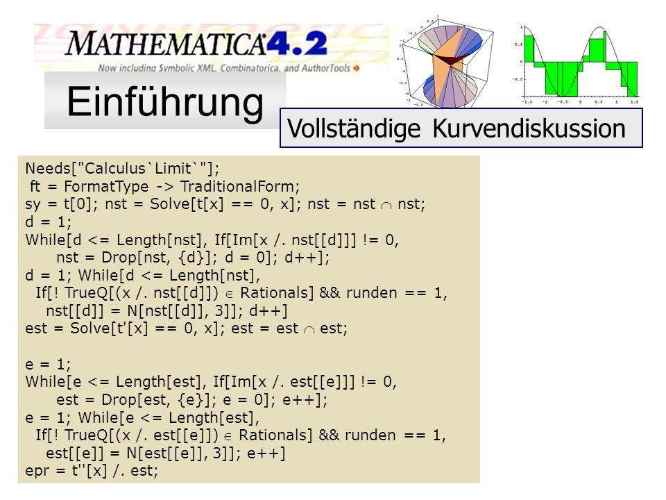 Einführung Vollständige Kurvendiskussion Needs[ Calculus`Limit` ];